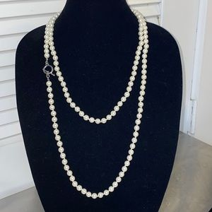 """58"""" String of White Layering Pearls Silver Closure"""